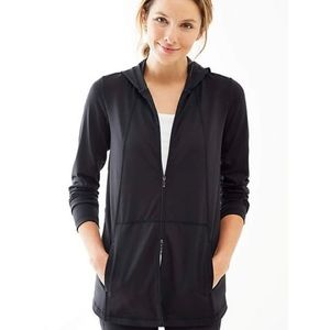 J. Jill Pure Jill Fit Black Zip Up Hooded Jacket